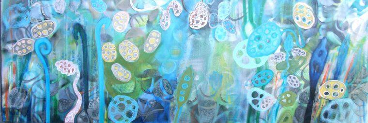 Martina Kaiser, Unterwasser, Einzeller, Schilf, Blautöne, Acrylmalerei