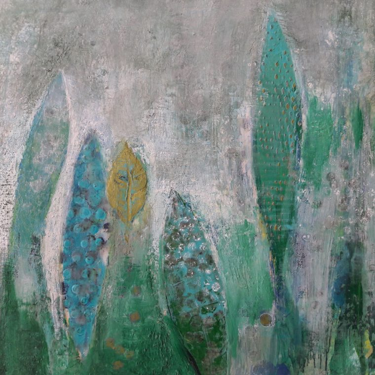 Martina Kaiser, Acrylmalerei, Blaugrüntöne, Blätter, Unterwasser