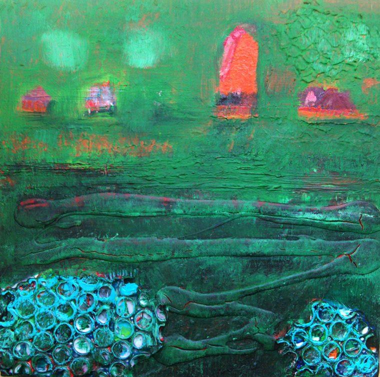 Martina Kaiser, Leuchtturm, Malerei, Kunst, Grünblau