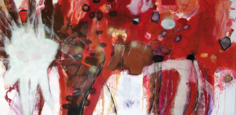 Martina Kaiser, Acrylmalerei, explosion, Rottöne