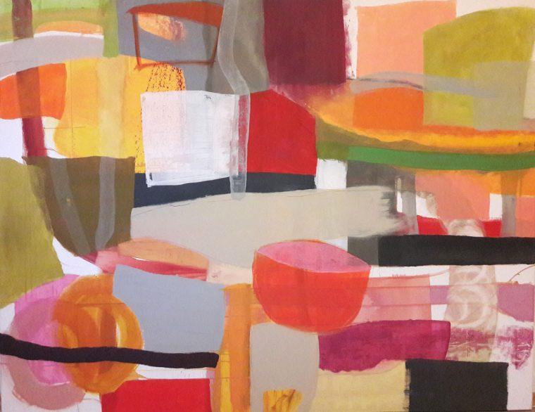 Martina Kaiser, Acrylmalerei, Warme Rottöne, Quadrate, Zuhause, Kunst