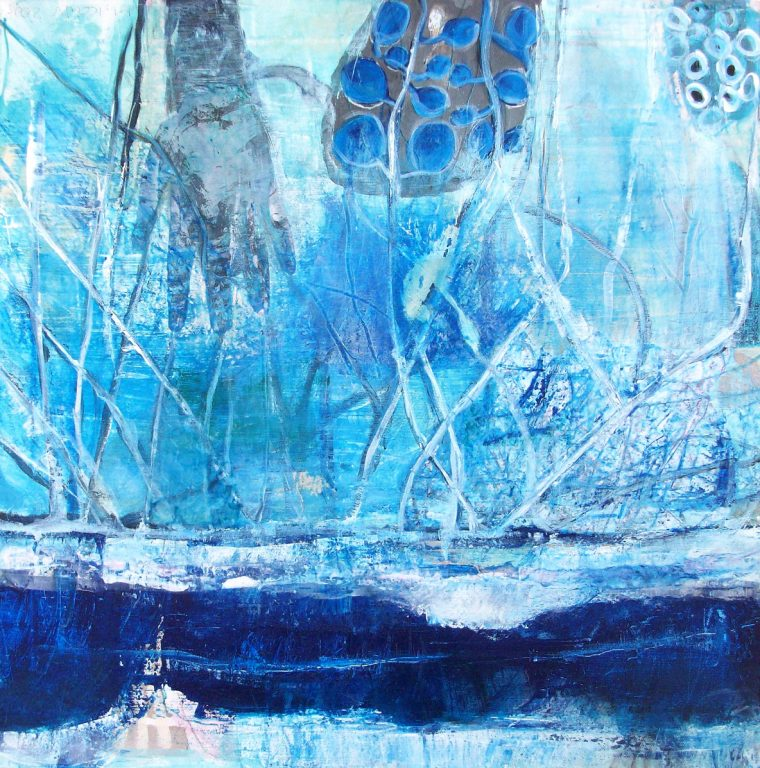 Martina kaiser, Unterwasser, Acrylmalerei, Blautone, Hand