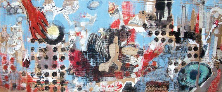 Martina Kaiser, Stadt NYC, Collage, Blautöne, Rottöne auf Pappe