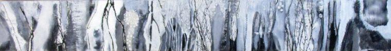 Martina Kaiser, Collage, Schneelandschaft, schwarz-weiss, Bäume